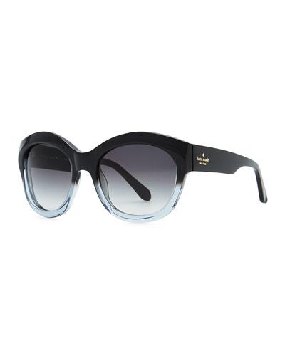 arianna cat-eye sunglasses, black stripe