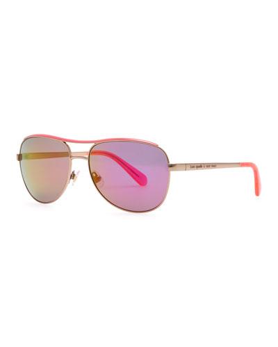 dusty aviator sunglasses, rose gold/pink