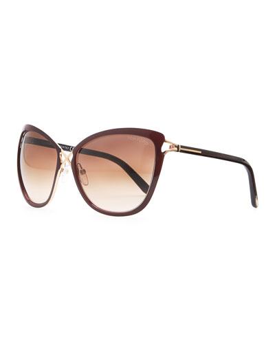 Celia Metal Cat-Eye Sunglasses, Dark Red