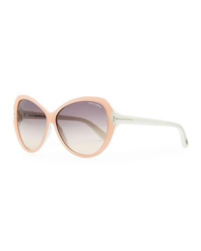 Valentina Acetate Cat-Eye Sunglasses, Pink/Ivory