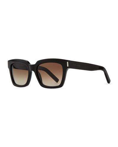 Bold Transparent Square Sunglasses, Black
