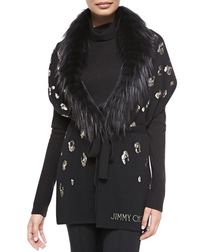 Sequin-Embroidered Scarf with Fur, Black