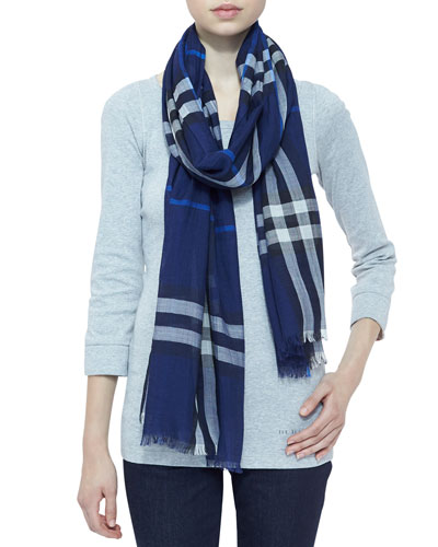 Giant Check Gauze Scarf, Bright Navy