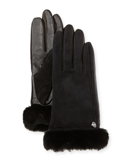 efdab09fb64 Classic Fur-Trim Suede/Leather Smart Gloves Black