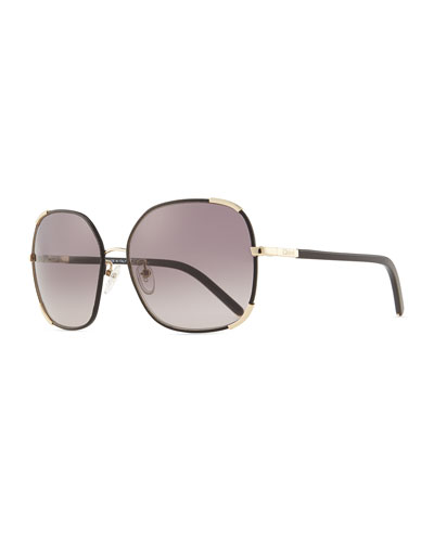 Nerine Oversized Sunglasses with Leather, Gold/Black