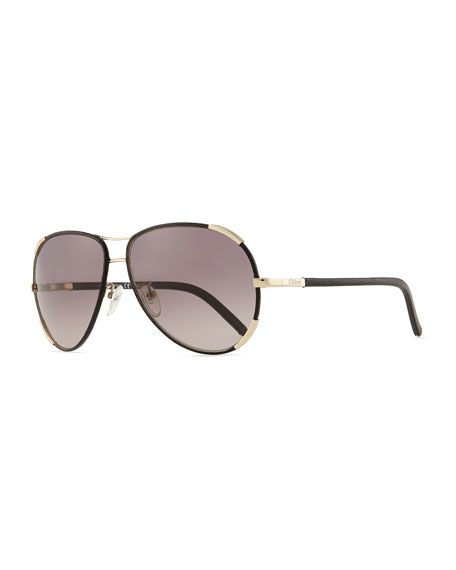 Leather Nerine Sunglasses Aviator Goldblack With b6fyY7g