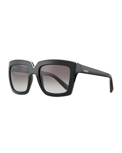 V-Notched Thick Square Sunglasses, Black