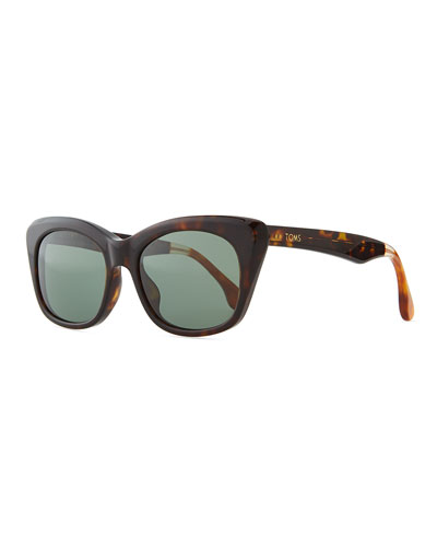 Tortoise Plastic Cat-Eye Sunglasses, Brown/Orange
