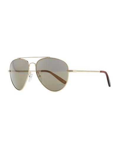 Metal Aviator Sunglasses, Golden/Green