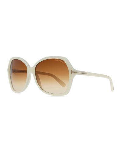 Plastic Square Sunglasses, Ivory