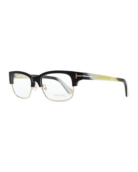 2bc26090d6 Tom Ford T-Temple Plastic Metal Half-Rim Fashion Glasses