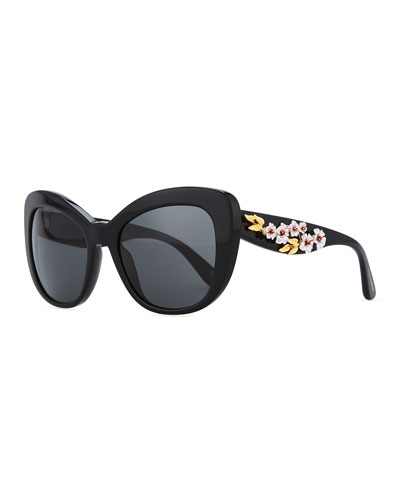 Floral Cat-Eye Sunglasses, Black