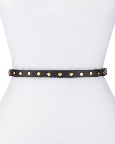 Cala Studded Skinny Belt, Black