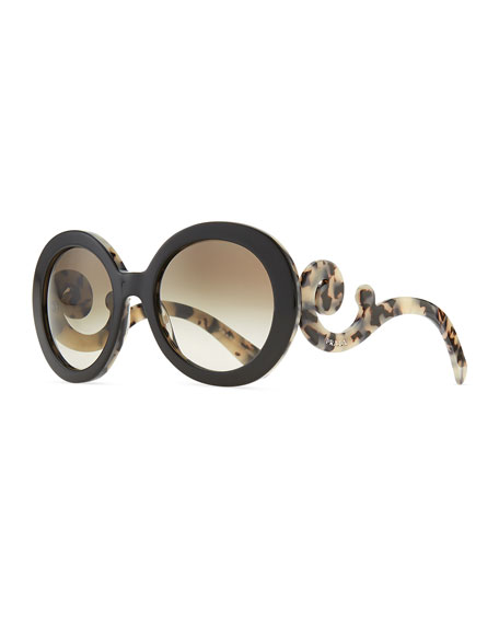 ed8591de4 Prada Round Baroque Sunglasses, Black/White