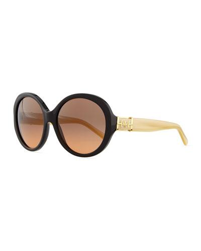 Plastic Rounded Cat-Eye Sunglasses, Tortoise/Black