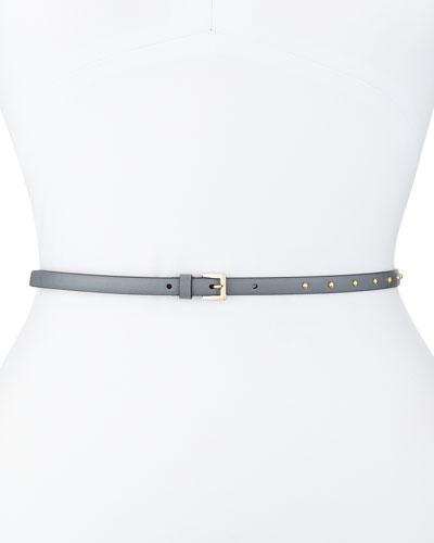 Dotcom Vitello Studded Belt, Pearl Gray