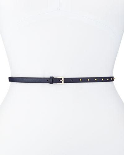 Dotcom Vitello Studded Belt, Marine Blue