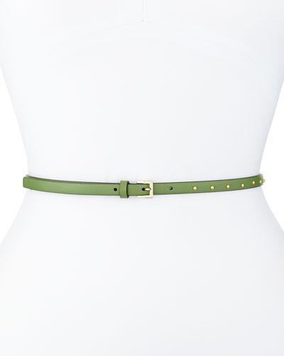 Dotcom Vitello Studded Belt, Clover Green