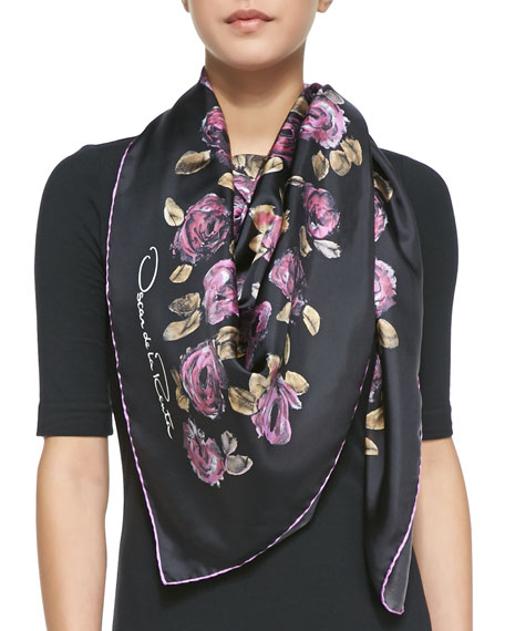 Sale Big Sale Oscar de la Renta painted flowers scarf Buy Cheap Inexpensive Comfortable Cheap Price Discount For Cheap Clearance Fashionable RP3w3UheX