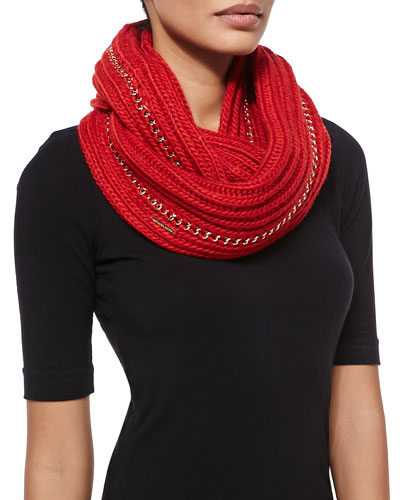 Allover Chain Infinity Scarf, Red Blaze