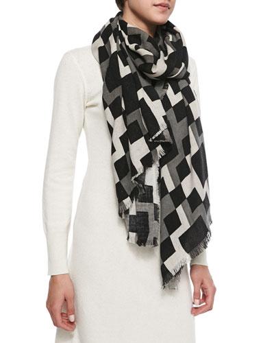 Geometric-Print Fringed Wrap Scarf, Black/White/Gray