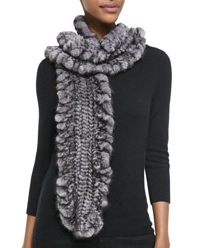 Knit Mink Fur Ruffle Scarf, Gray