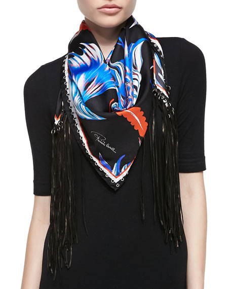 a77b0bd8199db Roberto Cavalli Printed Silk Twill Scarf with Leather Fringe, Blue