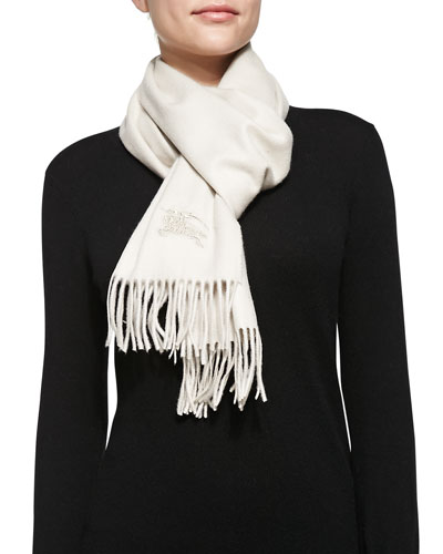 Cashmere Embroidered Scarf, Stone