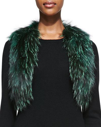 Cropped Fox Fur Vest, Green
