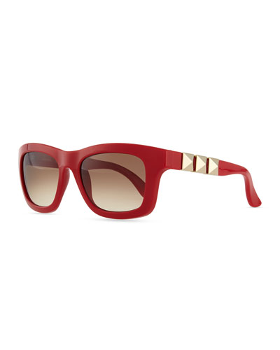 Rockstud Iconic Square Plastic Sunglasses, Red