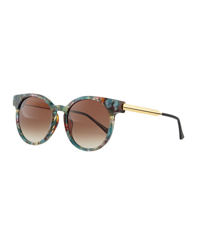 Painty Round Sunglasses with Metal Arms, Green/Multi
