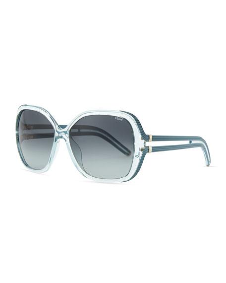 cd8c2718604 Chloe Clear Acetate Square Illusion Sunglasses