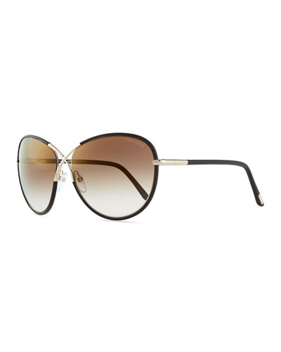 Rosie Oversized X Sunglasses, Brown