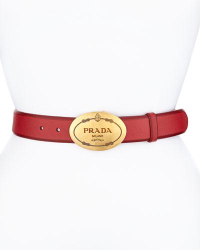 Saffiano Cuir Oval Logo Belt, Red (Fuoco)