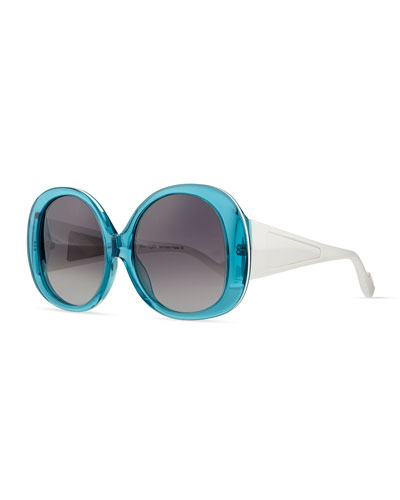 Plastic Oval Sunglasses, Turquoise/White