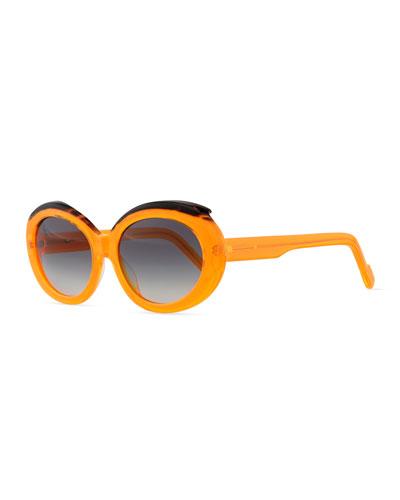 Plastic Oval Sunglasses with Curved Brow, Orange/Black