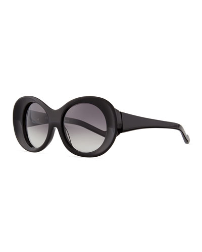 Plastic Butterfly Sunglasses with Lid, Black