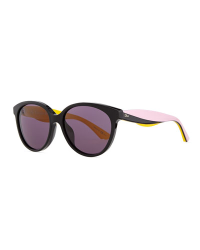 Envol 2 Rounded Rectangle Sunglasses, Black/Pink