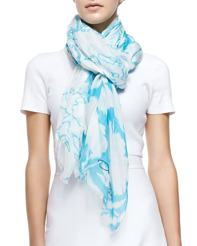 Ethereal Floral-Print Scarf, White/Blue