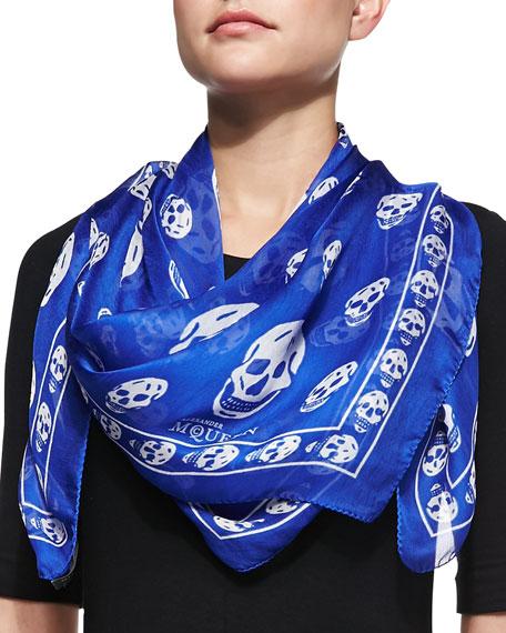 skull-print scarf - Blue Alexander McQueen Ek6U6m5U