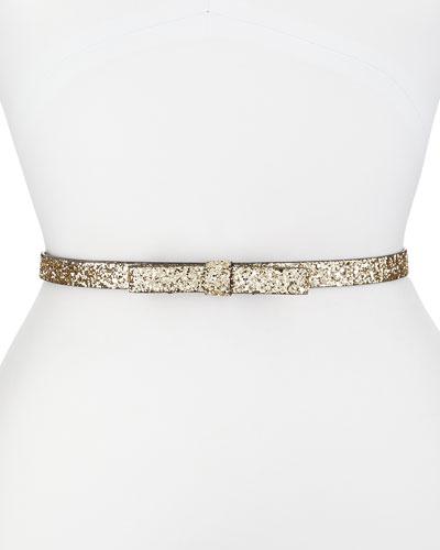 skinny leather bow belt, light gold