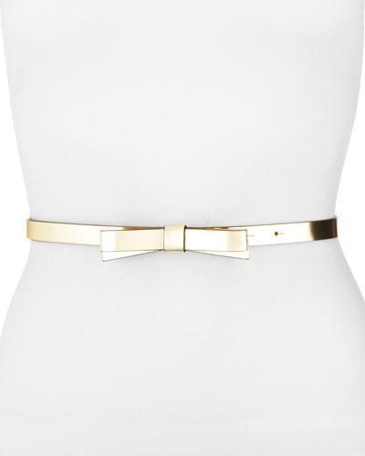skinny metallic bow belt, gold