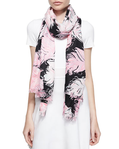 regal plumes feather-print scarf