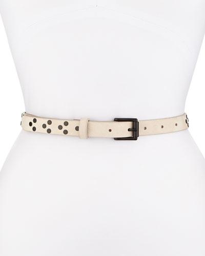 Nubuck Rivet Waist Belt, Black