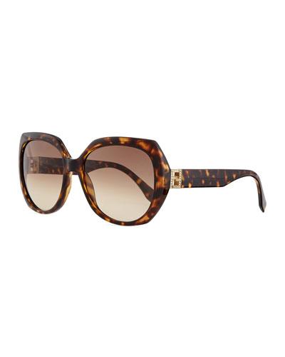 Fendista Temple Sunglasses, Brown Havana