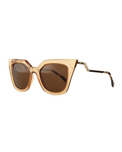Iridia Flash Sunglasses with Mirror Lens, Gold