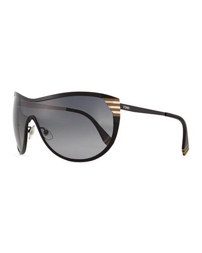 Pequin Shield Sunglasses, Black
