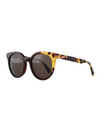 Limited-Edition Colorblock Sunglasses, Black/Olive