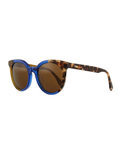 Limited-Edition Colorblock Sunglasses, Blue/Havana