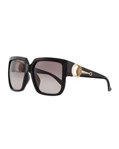 Diamantissima Square Sunglasses, Black